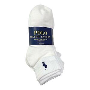 Polo Ralph Lauren Men's 6 Pair 4 Pair Quarter Crew Socks Shoe Size 6-12.5 (L)