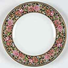 "Wedgwood China CLIO Floral Salad Plate Black Back Round 8 1/8"" Genuine Gold Trim"