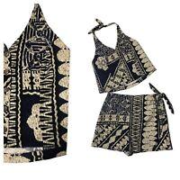 Sale Bright Global Folk Print Island Travel Beach Halter Shorts 40 mv Romper M L