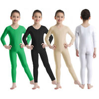 Girl Boy Long Sleeve Ballet Dance Gymnastics Catsuit Bodysuits Unitard Dancewear
