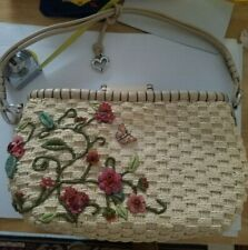 Straw  Style Purse with Flower Decorations and Adjustable Shoulder Strap
