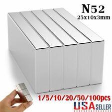 5 10 50 100 Super Strong Block Fridge Magnets Rare Earth Neodymium 25x10x3mm N52