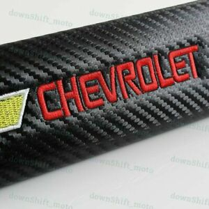 1 SET Carbon Look Embroidery Seat Belt Cover Shoulder Pads for Chevrolet Chevy