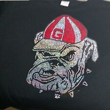 Women's Georgia Bulldogs spangle Rhinestone Football V-neck T Shirt Lady