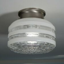 Flush Mount Ceiling Light Vintage Glass Shade New Fixture Base