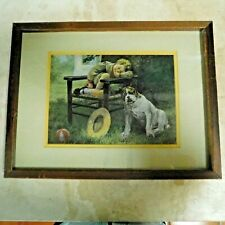 ANTIQUE LITHOGRAPH PRINT / SLEEPING BOY with BULLDOG by GEO. A KING / FRAMED