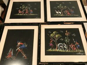 Vintage Tribal African Original Painting set of 4 Signed