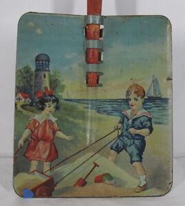 Antique 1920's RARE Ohio Art Co Toy Tin Litho Sand Shovel Lighthouse Wood NR yqz