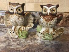 Vntg Set Of 2 Homco Home Interior Bisque Ceramic Decorative Horned Owl Figurines