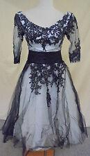 A-Line Tea Length 3/4 Sleeves Empire Waist Lace Up Formal Dress Black/White