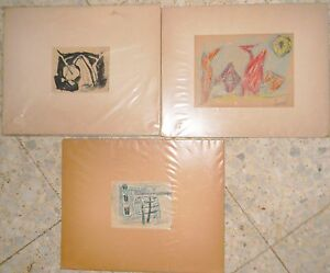 JUDAICA , COLLECTION OF 3 ORIGINAL ART DRAWING OF Marcel Janco+SIGNATURE