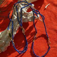 Turmalin Perl Kette 90 cm lang Silber vergoldet Karabinerschliesse COOL