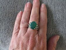 VERDE ONYX & RUSSIAN DIOPSIDE LARGE RING-SIZE P-6.570CTS-WITH PLATINUM