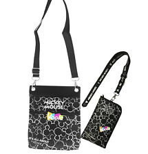 Disney Mickey Mouse Cross Body Shoulder Bag W/Lanyard Id Holder Silver