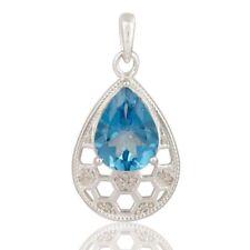 Natural Blue Topaz White Topaz Gemstone 925 Sterling Silver Pendant Jewelry