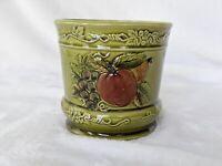 Vintage Lefton Green Planter With Fruit Japan #4330  Geo Z Ceramic Signed