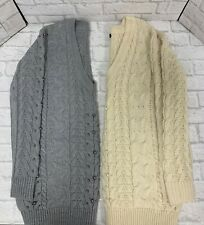Ladies Jumper Chunky Cable Knit With Stud Detail V Neck Cream or Grey Brand New