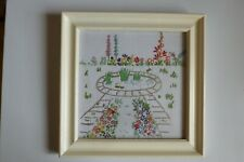 Vintage embroidery picture of a cottage garden with pond