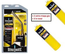 TORCH TS8000 BERNZOMATIC WITH MAPP GAS FOR BRAZING/SOLDERING/HEAT + 2 extra mapp