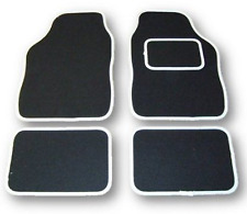 FIAT 500 & X & L UNIVERSAL Car Floor Mats Black Carpet & White Trim