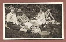 Pic-Nic  c 1920s, RP Older Couple formal clothes  parasol, Young couple    RK894