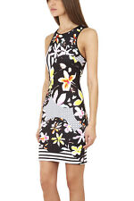 NWT CLOVER CANYON MULTI COLOR FLORAL DISCS NEOPRENE DRESS SIZE: S