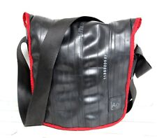 Alchemy Goods BLACK RECYCLED RUBBER TIRE RED TRIM FLAP SHOULDER BAG CROSSBODY