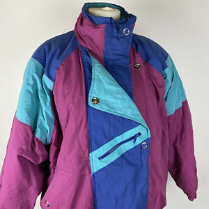 Vintage South Lodge Block Multicoloured Ski Hiking Casual Coat Size S/M