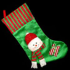 Verde& Rojo 50cm Calcetines Navidad con Peluche 3d Muñeco De Nieve Cabeza