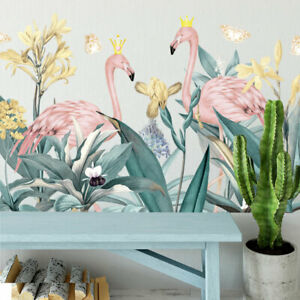 Flamingo Tropical Plant Kids Wall Art Stickers Nursery Decal Decor Art Mural DIY