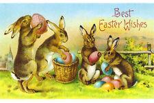 Easter Fridge Toolbox Magnet (3x2) Vintage Poster Bunny Rabbit Eggs Basket Art