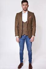 Mens Marc Darcy Designer Tan Brown Check Tweed Style Country Blazer Jacket