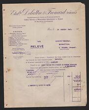 PARIS, Rechnung 1927, Etablissements Delattre & Frouard réunis Relevé