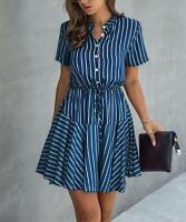 Supreme Fashion Collared Stripe Button Front Tie-Waist A-Line Dress (Blue, L)