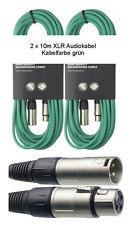 2x 10 m Mikrofonkabel XLR-XLR 3-pol grün DMX-Kabel Mikrofon-Kabel Audiokabel