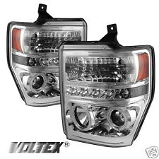 2008-2010 FORD F250 350 SUPER DUTY CCFL LED PROJECTOR HEADLIGHTS LIGHTBAR CHROME