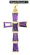 amethyst Christian cross 14K pendant birthstone purple