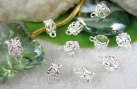 80PCS Silver Plated Floral Barrel Bail Charms FC327SP