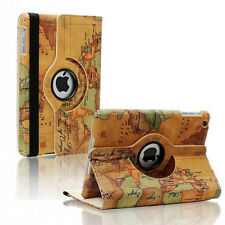 For iPad 4 4th 3 & 2 Retina Display 360 Rotating Map Leather Case Smart Cover
