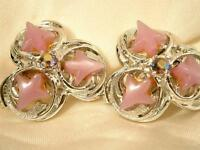 Showy Vintage 1950's Pink Aurora Rhinestone Thermoset Earrings             774je