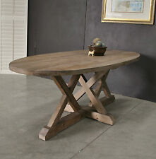Oval Rustic / Industrial Farmhouse Reclaimed Timber Sawhorse Base Dining Table
