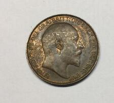 1906 Half Penny, Brown, Unc, Great Britain, Uk, Edward Vii, Km793.2