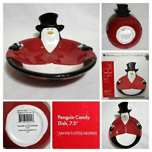 "Studio Nova Santa's Little Helpers PENGUIN Candy Dish CHRISTMAS Ceramic 7.5"" IOB"