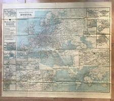 EUROPE MAP OF COMMUNICATIONS 1913 XXe CENTURY VERY LARGE LITHOGRAPHIC MAP