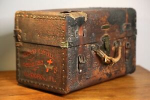 Antique Chest Steamer Trunk leather suitcase Travel Doctor bag Red Cross Vintage