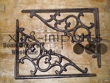 4 Cast Iron Antique Style SM Leave & Vine Brackets Garden Braces Shelf Bracket