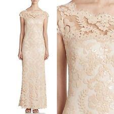NWT Tadashi Shoji Paillette Sequin Lace A-Line Gown Dress Jute Beige Size 10