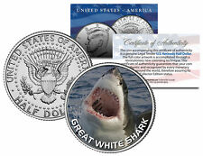 """Great White Shark """"Jumping Out of Water"""" on JFK Kennedy Half Dollar U.S. Coin"""