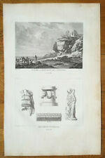 Choiseul Gouffier Large Print Santorin View and Statues Greece Folio  1782#