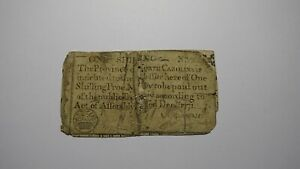 1771 One Shilling North Carolina NC Colonial Currency Note Bill! RARE ISSUE 1s
